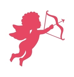 Cupid angel with arch silhouette isolated icon vector