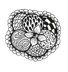 Doodling hand drawn amazing flower and patterns vector image
