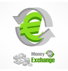 Euro symbol in green vector image