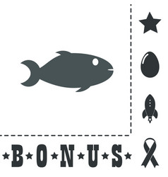 fish icon on backgroun vector image