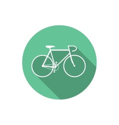 Flat Style Bicycle Inside Round Green Icon vector image vector image
