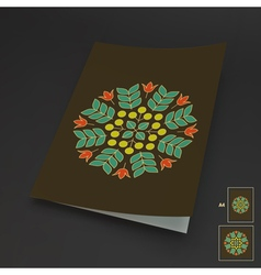 Floral Elements Textbook Booklet Notebook Mockup vector image