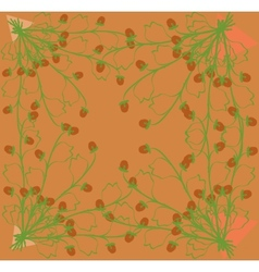 Gathering herbs strawberries on a bright orange vector