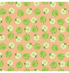 Green apple pattern on pink background vector