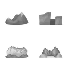 Green mountains with snow tops a canyon rocks vector