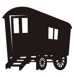 gypsy caravan wagon silhouette vector image vector image