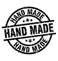 Hand made round grunge black stamp vector