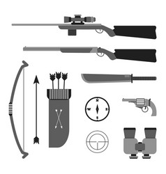 Hunting set flat style equipment vector