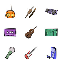 instruments icons set cartoon style vector image