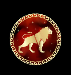 leo zodiac sign in circle frame vector image
