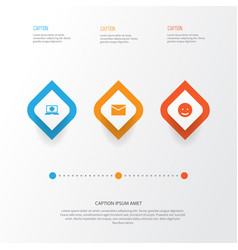 Media icons set collection of letter laptop vector