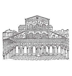 Old facade of st peters papal enclave within the vector