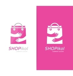 Package and hands logo combination shop vector
