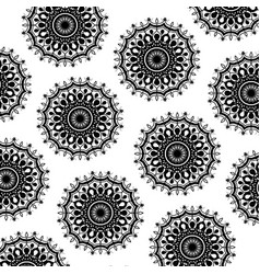 Pattern monochrome abstract flower mandala vintage vector