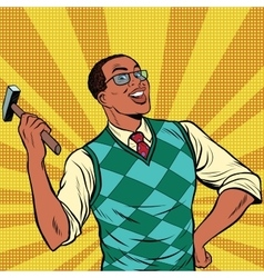 Retro man with a hammer for home repairs vector