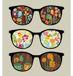 Retro sunglasses with nature reflection in it vector