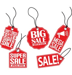 Sale red tag set vector