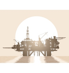 Sea oil rig Oil platform in the sea vector image