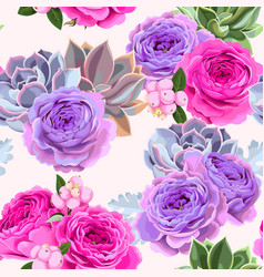 seamless pattern with roses and berries vector image