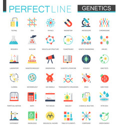Set of flat biochemistry genetics icons vector