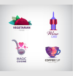 set of restaurant cafe coffee wine vector image