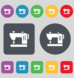 Sewing machine icon sign a set of 12 colored vector