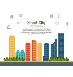 Smart city design social media icon technology vector
