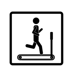 square shape pictogram with man in treadmill vector image