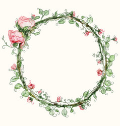 Watercolor round rose flower frame vector