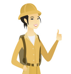 Young asian traveler giving thumb up vector