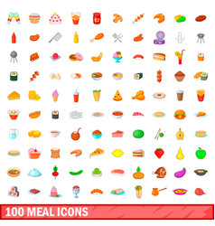 100 meal icons set cartoon style vector