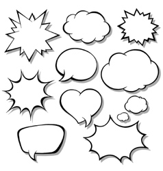 Set of comic bubbles Blank empty speech bubbles vector image