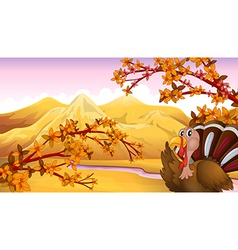 Cartoon Autumn Turkey vector image