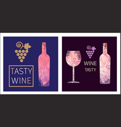 Wine tasting card set vector