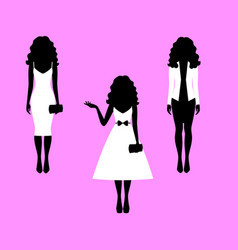 Woman with long hair model silhouettes vector