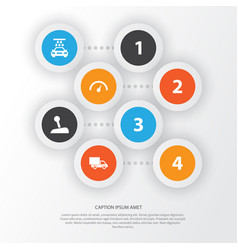 Auto icons set collection of stick chronometer vector