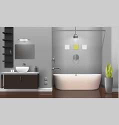 Modern realistic bathroom interior design vector