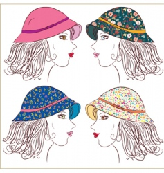 Fashion girls in panamas vector