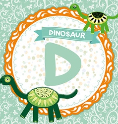 Abc animals d is dinosaur childrens english vector