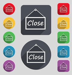 Close icon sign a set of 12 colored buttons and a vector