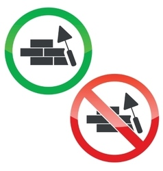 Build wall permission signs set vector