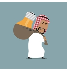 Tired arab businessman carrying a heavy idea vector