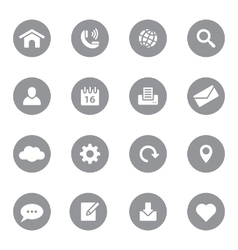 Web icon set 1 on gray circle vector