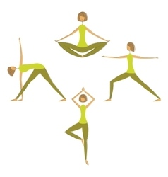 Set of yoga women silhouettes vector