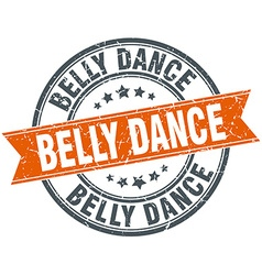 Belly dance round orange grungy vintage isolated vector