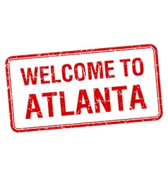 Welcome to atlanta red grunge square stamp vector