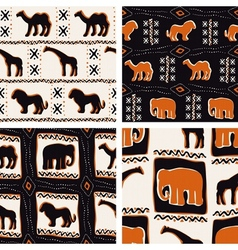 Set of africa-themed seamless patterns vector