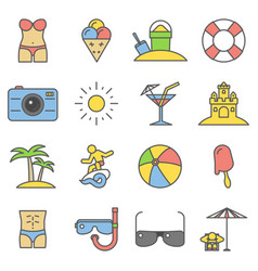 beach thin line flat icons summer signs vector image