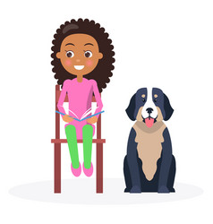Black curly girl sitting with classbook and pet vector