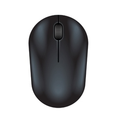 Black realistic computer mouse vector